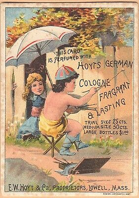 Victorian Trade Card-Hoyt's German Cologne-Lowell, MA-Child Painting Fence