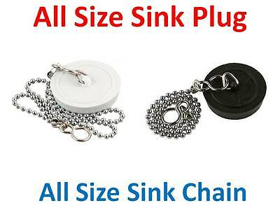 "White and Black Sink plug plus chain 1.3/4 1.1/2 12"" 18"" Kitchen Bath Plugs Tub"