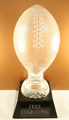 HUGE GLASS FANTASY FOOTBALL TROPHY-  FREE ENGRAVING!! SHIPS IN 1 BUSINESS DAY!!