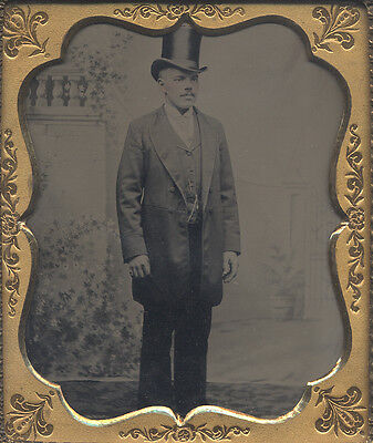African-American Man, Top Hat, Long Coat, Hand Tinted, Watch Chain, Tintype