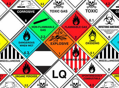 Hazard Warning Sticker, UN Label, 100mm x 100mm, ADR Complient. x5 or x25, Vinyl