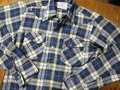 vintage 70s blue brown PLAID western SHIRT pointy collar BOYS 14 large L cowboy