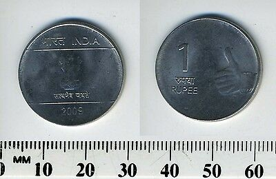 India 2009 - 1 Rupee Stainless Steel Coin - Dot