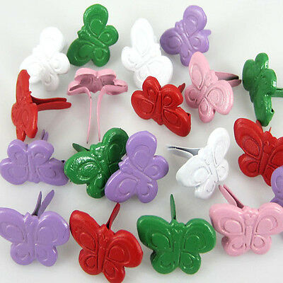 100pcs Mixed Butterfly Shaped Brads Mini Stamping Scrapbooking