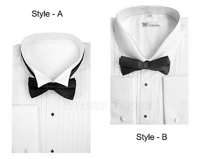 Men's Tuxedo Dress Shirt Wing Collar with Bow-Tie Set French Cuff Style M11