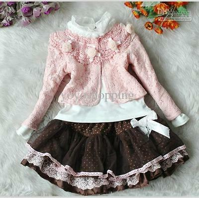 Girls 3 peice outfit pink brown white jacket tutu skirt wedding party special