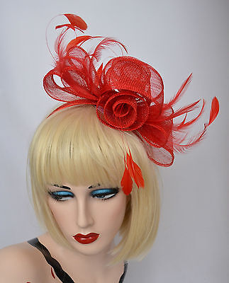 PillBox Race Party Racing Carnival Wedding Feather Fascinator Hat Headband RED