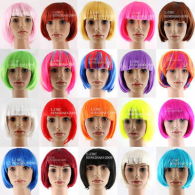 Bob Wig Doll Costume Party Wigs Dress Up Halloween Cosplay-21 Colours Availale