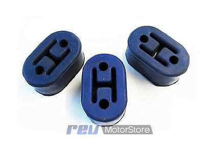 x3 BLUE universal upgraded heavy duty exhaust rubber hanger support mounts
