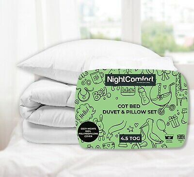 Anti Allergy Cot Bed Duvet and Pillow Luxury Hollowfibre 4.5 Tog
