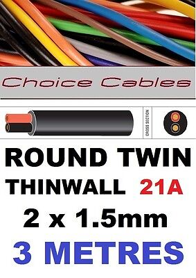 ROUND TWIN AUTO CABLE 2 CORE 1.5mm 21 AMP CAR, BOAT LOOM WIRE, MARINE CABLE 3m