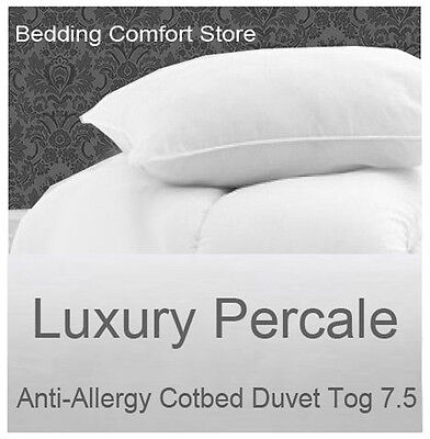 Anti Allergy Cot Bed Duvet and Pillow Luxury Percale 7.5 Tog