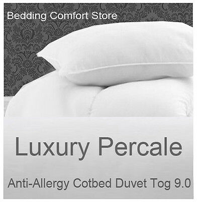Anti Allergy Cot Bed Duvet and Pillow Luxury Percale 9.0 Tog