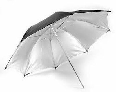 83cm Black & Silver Studio Flash Umbrella 33in UK Seller