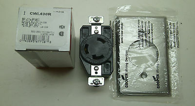 New Cooper Cwl1420Rsgl H/L Receptacle Nib Twist With Stainless Steel Wallplate