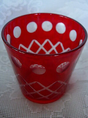 Beautiful Ruby Red Glass/Crystal Cut to Clear Votive/ Tealight