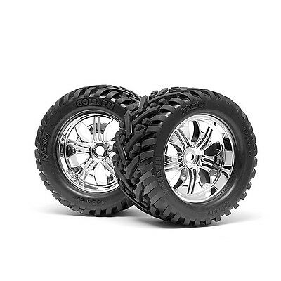 HPI Racing RC Car 1/8 Mounted Goliath Tyre on Tremor Wheel Chrome 2pcs 4728