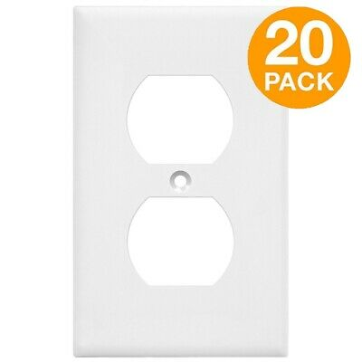 ENERLITES Duplex Receptacle Wall Plate 1-Gang Outlet Cover 20 Pack White