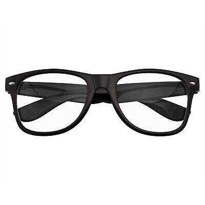 NERD BLACK GEEK GLASSES GLOSSY CLEAR LENS Clear frame sunglasses