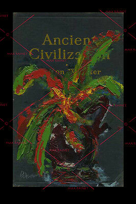 Plant in Vase on Book Board Graphic = Original OIL PAINTING = C Peterson SURREAL