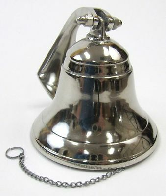 "3.5"" Small Aluminum Ship Bell w/ Chain Lanyard ~ Nautical Maritime Wall Decor"