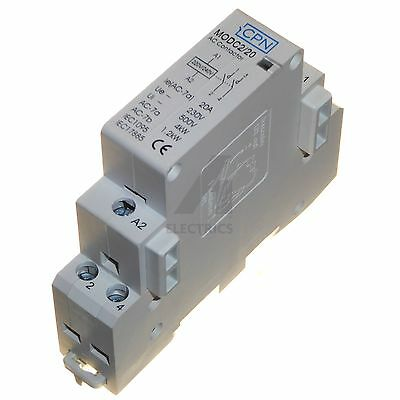 20 amp AC contactor 1.2kW 4kW lighting heating 220 230V coil DIN rail mount 20A