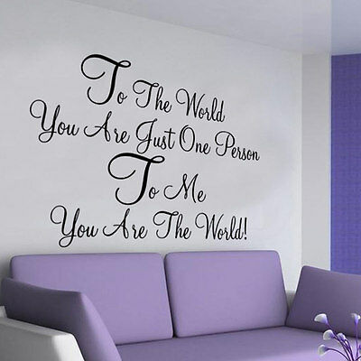 To The World LOVE wall  sticker LARGE decor vinyl bedroom quote