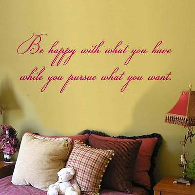 Be Happy With What you have wall sticker bedroom 3 sizes avalaible