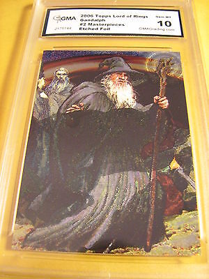 Gandalf 2006 Topps Lord Of The Rings Masterpieces Etched Foil 2 Of 6 Graded 10
