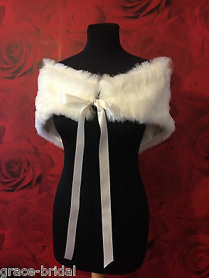BEAUTIFUL LUXURY IVORY FAUX FUR WRAP SHRUG  ASS SIZES BNIP **free samples**