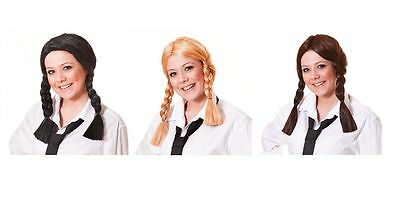 #school Girl Wig All Colours Dorothy Plaits Pigtails Halloween Fancy Dress Adult