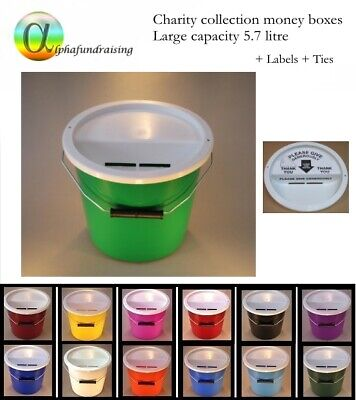Charity Collection Donation Buckets/boxes + Lids +  Labels + Security Ties