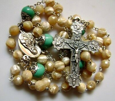 Sterling silver Turquoise Father Beads & Tridacninae Rosary & Catholic cross