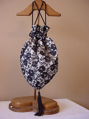 Regency Victorian Ladies Tea Gothic Black & Ivory Satin & Lace Reticule Sass