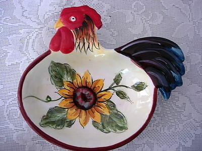 Rooster/Chicken w/Hand Painted Sunflower Ceramic Spoon Rest /Soap Dish - NEW