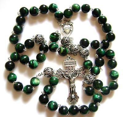* Rare Bali sterling silver Beads & CROSS Tiger Eye Rosary CATHOLIC NECKLACE