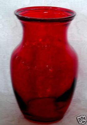 Beautiful Ruby Red Blown Stained/Flashed Glass Vase - Classic Shape