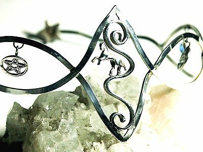 STERLING SILVER 925 TIARA Pagan medieval fantasy hand made prop accessory