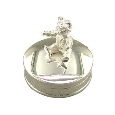 925 Sterling Silver Teddy Bear Tooth Fairy Box. Hallmarked Silver Tooth Fairy