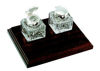 Silver & Glass Ink Wells. 2 Hallmarked Silver Ink Wells On Stand. Special Offer