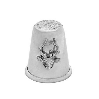 Hallmarked Silver Thimble With Stags Head.  Sterling Silver Stag Thimble