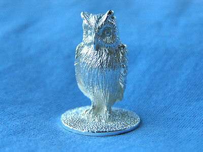 Silver Owl Model.  Hallmarked Sterling Silver Figure Of An Owl English Made