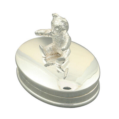 Silver Teddy Tooth Fairy Box. Hallmarked 925 Silver Christening Gift For Babies