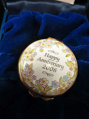 """happy Anniversary ""  English Halcyon Days Enameled Box   New    Pefect Gift !"