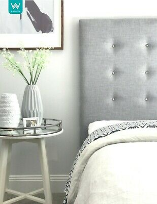 CHROME Stud Upholstered Bedhead / Headboard for Queen Size Ensemble - OATMEAL
