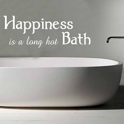 Happiness is a long bubble bath wall sticker quote bathroom