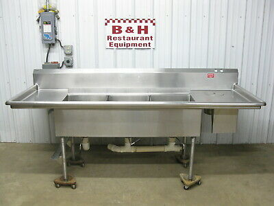 "96"" Stainless Steel 3 Bowl 18"" x 20"" Compartment Sink w/ 2 Drain Boards 8'"