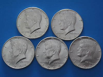 1964P Kennedy Half Dollars $2.50 face value lot #1 - 90% Silver US coins