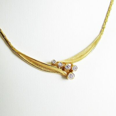 Collier Gold 585er Goldcollier 0,12 ct Brillantcollier Goldschmuck Damen 14 kt.