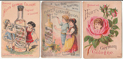 3 different blotter paper scented trade cards for Hoyt's German Cologne, L [3582